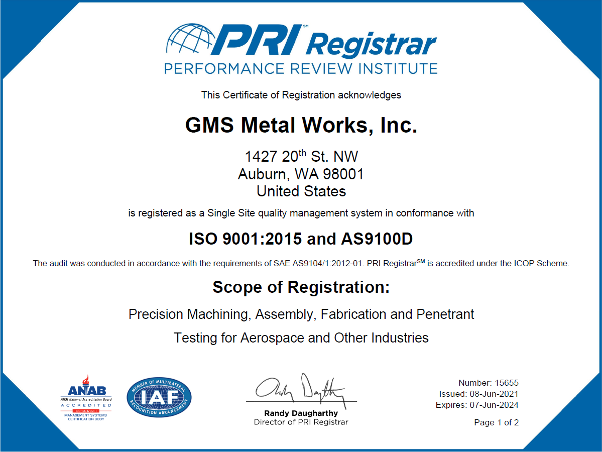 AS9100  Certification PDF Link